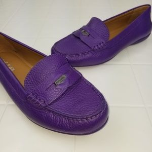 Authentic Coach size 8 purple penny loafers